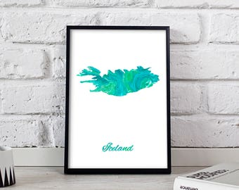 Iceland poster Iceland art Iceland Map poster Iceland print wall art Iceland wall decor Gift print