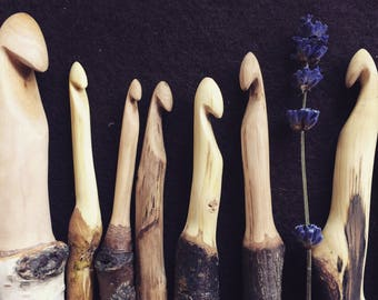Hand carved wooden crochet hooks to oder!