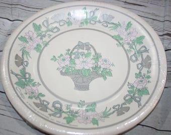 Vintage Wedding Shower 10 Paper Plates Floral 1988