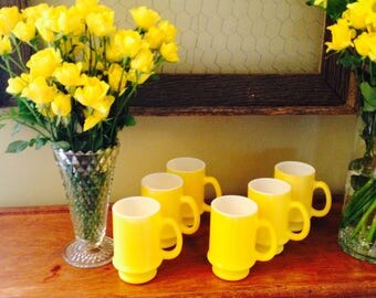 Vintage Sunshine Yellow Hand Painted Milk Glass Cocoa Textured  Mug Set