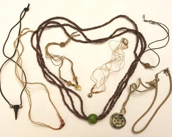 Vintage and Newer Hippie Cord Tooth Clay Shell Necklace Lot