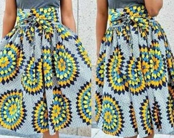 African print skirt with belt, Ankara print, African flay skirt, African clothing