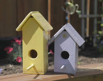 Minimalist Handcrafted 'His & Hers' Wooden Birdhouses with Pastel Finish - Hand Painted Pair