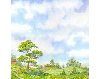 Landscape Watercolour Painting Q152