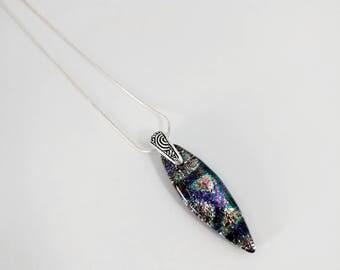 Multi-colored Dichroic Fused Glass Pendant