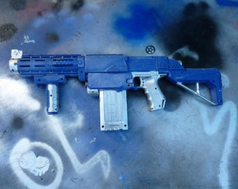 Blue and silver Nerf gun