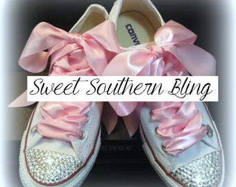 White and Pink Bling Converse shoes