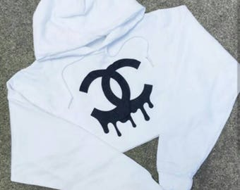 Chanel Influenced Cropped hoodie