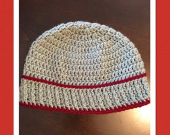 Teen/Adult Grey beanie with Maroon Accents