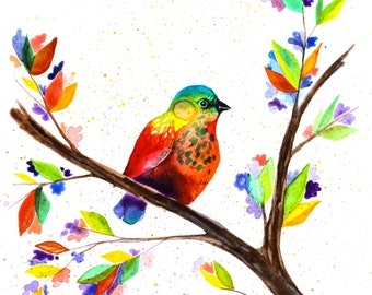 Rainbow Watercolor Print - Bird