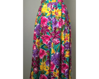 Vintage Dior Tropical Floral Flowy Long Skirt / size 10-12