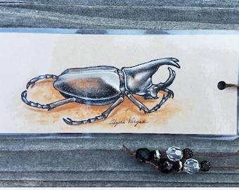 Original Beetle Drawing Bookmark - Colored Pencil - OOAK - Insect - Bug - Entomology - Scarab - Rhinoceros - Xylotrupes Ulysses - Dynastinae