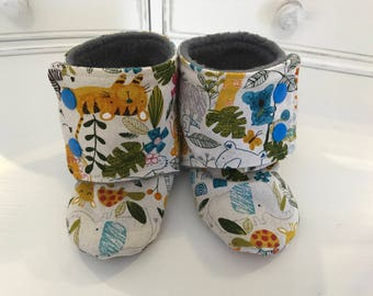 Jungle Baby Booties- Size 12-18 Months