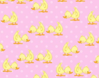 Comfy Flannel Ducks Pink Fabric from A.E. Nathan
