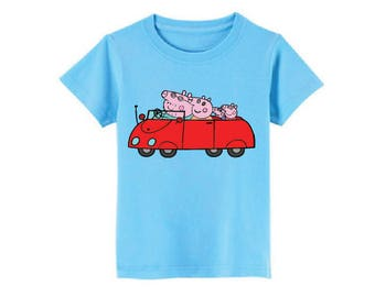 Peppa Pig and Family In The Car T-Shirt for children - available in many sizes and colors