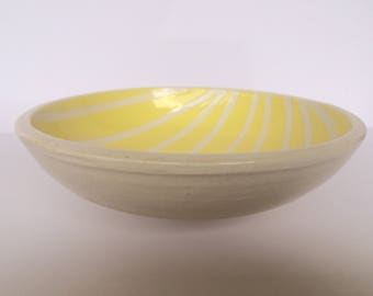 Yellow and White Striped Bowl
