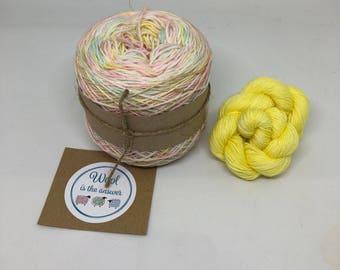Hand Dyed 4 ply Superwash Merino - Unicorn Rainbow with yellow mini skein