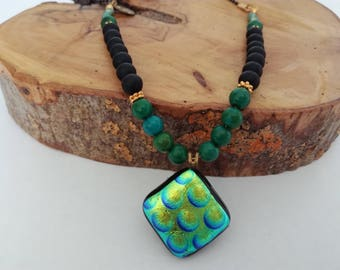 Long beaded necklace, Glass pendant necklace, Unique necklace, Green black gold, Glass pendant, Fused glass, Hand crafted jewelry, Etnic