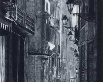 Early Morning Gothic Quarter Charcoal Drawing Print