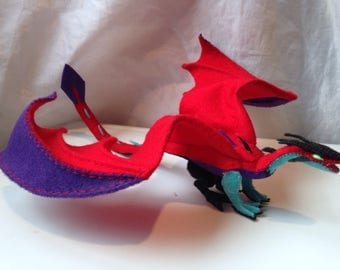 Handmade Dragon, Posable, Felt, Plush, Red/Purple/Teal/Black