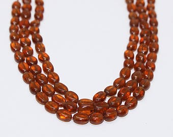 "AAA Quality Natural Hessonite Garnet Beads / Oval Smooth Genuine Stone Beads / Strand 17"" long/ Semi Precious Beads/Sold Per STRAND"