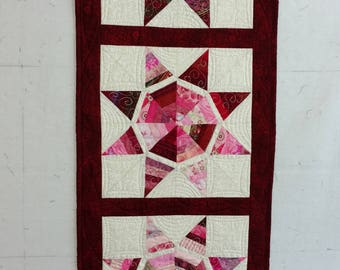 Custom Quilted String Star Red Table Runner