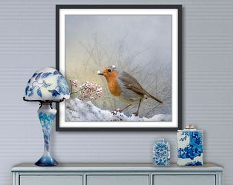 Digital painting, Robin, digital download and print on canvas or paper art