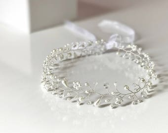 Crystals and Pearls Headdress  / Crown Silver Wire, Ribbon Headband, Wedding Hair Accessories, Bridal Hair Vine Pieces, Bridesmaid Jewelry