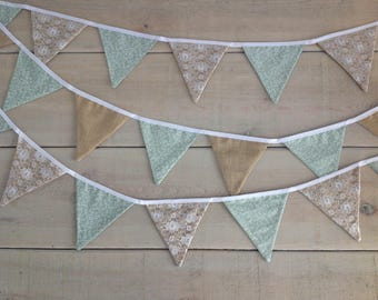 Pretty Green, Brown and Lace Bunting - Perfect for weddings or to brighten up your home