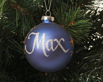 Blue Glass Personalised Christmas Decoration