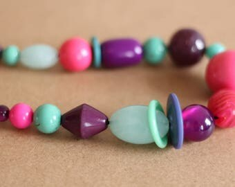 Statement Necklace, Purple/Pink/Mint/Green/Tuquoise Necklace, Colourful Beaded Necklace, Recycled Necklace,