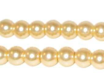 8mm Round Cream Glass Pearl Bead, approx. 56 beads