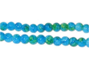 6mm Marble-Style Turquoise Glass Bead, approx. 72 beads