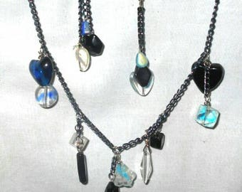 BLUE, BLACK & ICE Necklace and Earring Set