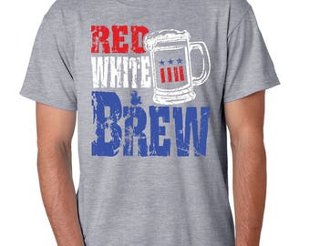 Red White and Brew Grey patriotic tee shirt