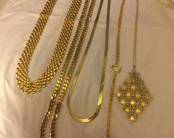 Vintage  costume  jewelry ,chains