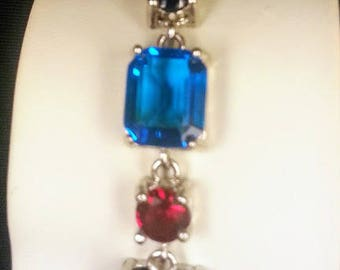 Ladies Adjustable Red, White and Blue Bracelet 7.5 Inch