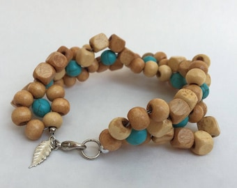 Spiral Flower Turquoise and Wood Bead Bracelet
