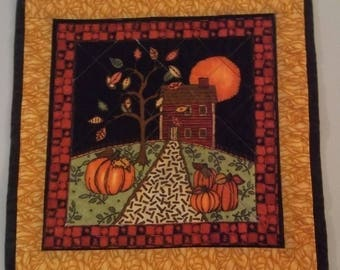 Autumn October Night Quilted Table Topper, Quilted Table Topper, Pumpkin Table Topper, Quilted Placemat, Quilted Snack Mat, Item 1208A