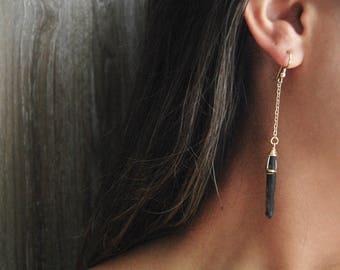 Black Quartz Point Earrings // Raw Quartz Earrings // Black Gemstone Earrings // Drop Earrings // Gifts for Her // Bridesmaid Gifts
