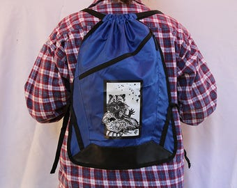 "Lightweight Raccoon Cinch pack/ Backpack, Blue, 18.75""h x 13.5"" Zipper pouch, Camping, Ipad bag, Hiking, Travel, Lunch, School, or Beach bag"