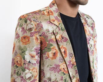 Vintage Floral Blazer / Mens Medium Sports Jacket / Unisex Brown Ornate Flowers Pattern Sports Coat
