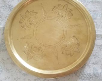 Vintage Gold Brass Plate Tray
