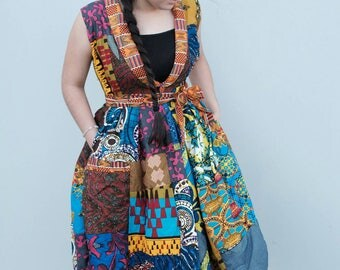 women African ankara pleated waist patches dress blazer  sleeveless African dress knee length African fashion Afrcan clothing African Ankara