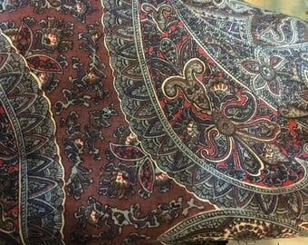 Wool challis vintage fabric paisley brown gray