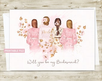 Bridesmaid Invitation Card PRINTABLE, Bridesmaid Invite, Will you be my Bridesmaid Invitation, Wedding Invitation
