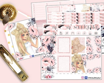 Pink Glitter Weekly Planner Kit, Cute Kawaii Girl Planner Stickers, Bow Sticker, Pink Flowers Sticker, Planner Accessory