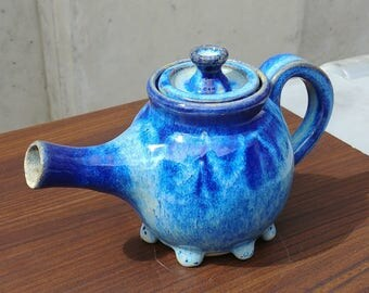 Ceramic Tea Pot, Blue Beige