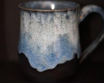 Coffee Mug - Tea cup - Hand Thrown Ceramic Mug - blue mug - blue and white mug - Stoneware Mug - Wheel Thrown - Handmade Mug - Pottery Mug