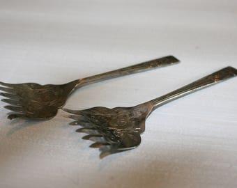 Antique Sheffield England Sardine Forks - Pair of 2 / Antique Silver Plated Sardine Forks